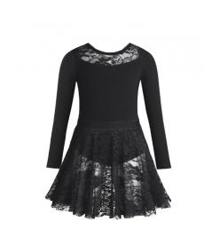 Dívčí taneční a baletní dres s dlouhou krajkovou sukní