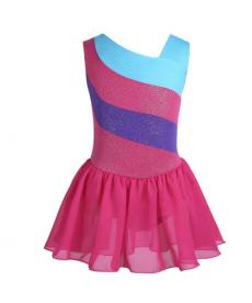 Baletní a gymnastický dres s pestrobarevnými pruhy