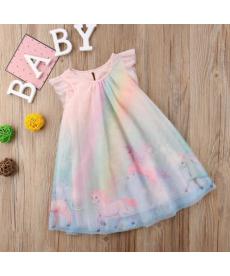 Dívčí letní slavnostní šaty s jednorožci