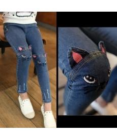 Dívčí jeansy s kočičkami na kolenech