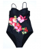 Jednodílné černé plavky zdobené velkými květy