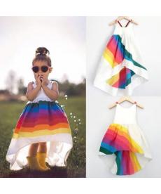 Letní dívčí šaty s duhou