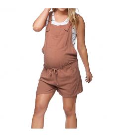 Hnědé těhotenské plátěné laclové kraťasy