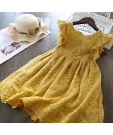 Dívčí letní krajkované slavnostní šaty s mašlí na zádech