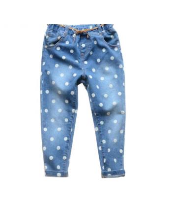 Tenčí dívčí džínové kalhoty s puntíky