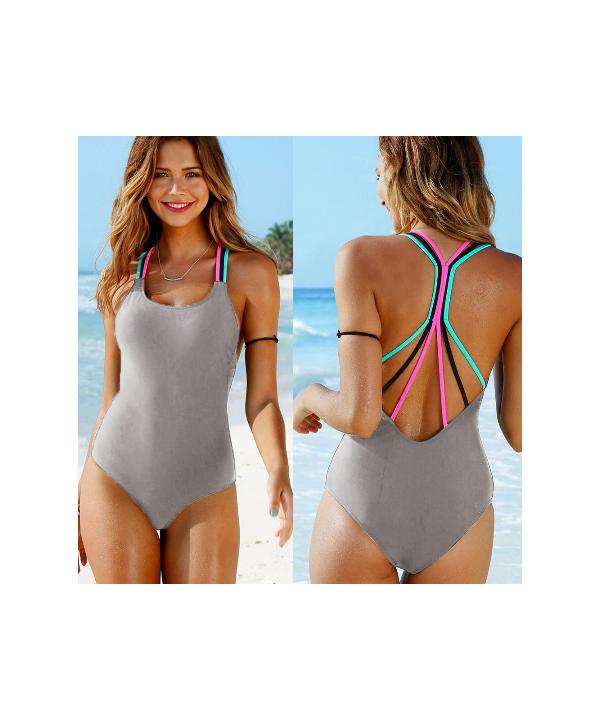 426ca4d49 ... Jednodílné sportovní dámské plavky se zadním barevným překřížením ...