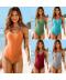 Jednodílné sportovní dámské plavky se zadním barevným překřížením
