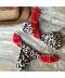 Dvoudílné dámské bikiny s leopardím vzorem zdobené červenými volánky