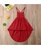 Dětské jednobarevné plátěné šaty v boho stylu