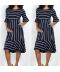 Pruhované těhotenské šaty s volánky