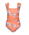 Lososové jednodílné těhotenské plavky s květy
