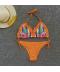 Dvoudílné oranžové bikiny s volánkem a květy