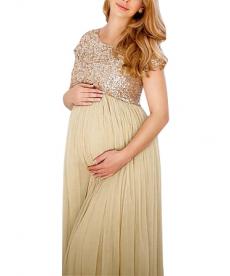 Dlouhé dámské těhotenské šaty s třpytivými efekty