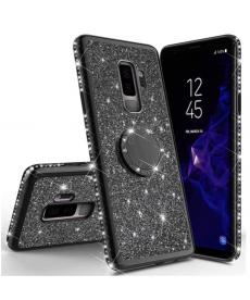 Třpytivý kryt s finger ring držátkem na Samsung Galaxy S9