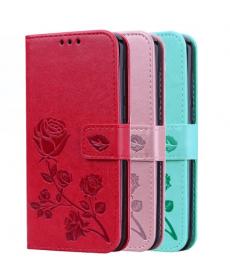 Kožený flip kryt s růží na Huawei Honor 10