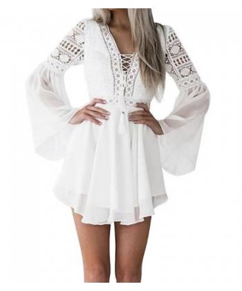 Lehké plážové šifonovo krajkové šaty