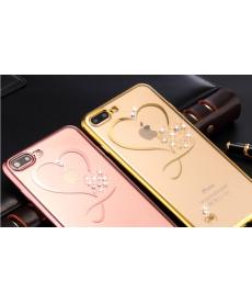 Ochranný silikonový kryt pro Iphone se srdcem a krystaly Svarowski