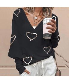 Volný dámský svetřík se zlatými srdci
