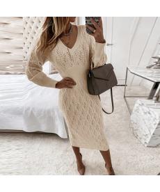 Dlouhé podzimní pletené dámské šaty