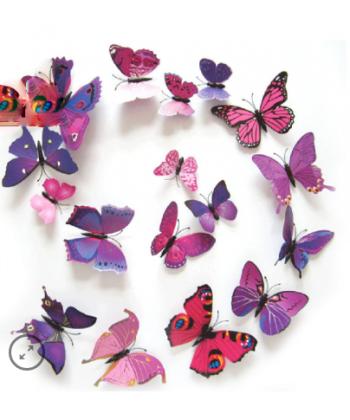 12 3D samolepek - motýli