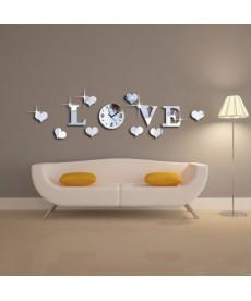 Nástěnné hodiny LOVE - samolepka