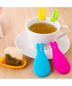 Silikonový zajíček na držení čajového sášku a lžičky- 3 kusy
