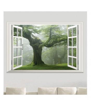 3D Samolepka na zeď - pohled z okna na strom