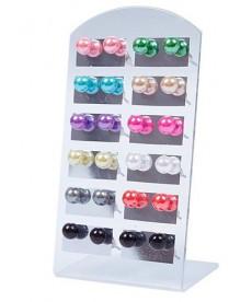 Náušnice barevné kuličky - 12 párů