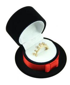 Sametová krabička na šperky - motiv klobouček černý