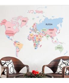 Samolepka na zeď - Mapa světa