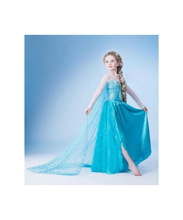 25a5a671ba57 Dětský pohádkový kostým Anna a Elsa s dlouhou vlečkou v modré barvě