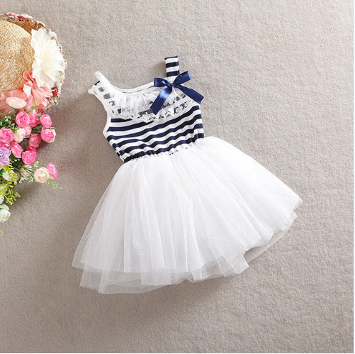 0e8e6c185627 Dětské módní šaty s nabíranou sukní v námořnickém stylu