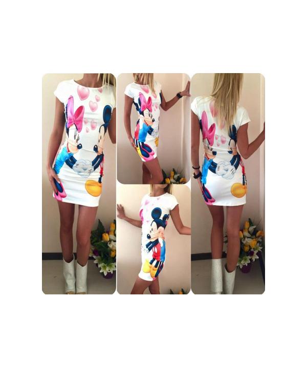Letní dámské šaty s potiskem Minnie a Mickey Mouse c710ca8041