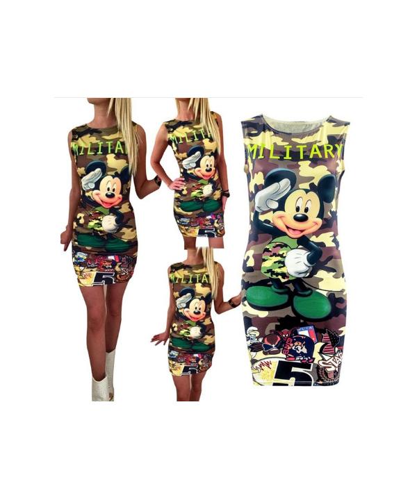aa8172970ce0 Letní dámské šaty s potiskem Minnie a Mickey Mouse