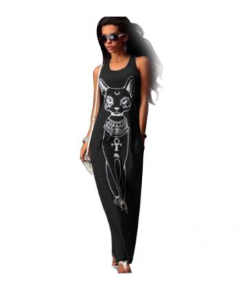 Sportovní maxi šaty na ramínka s potiskem kočky SPHYNX 830fd536c9