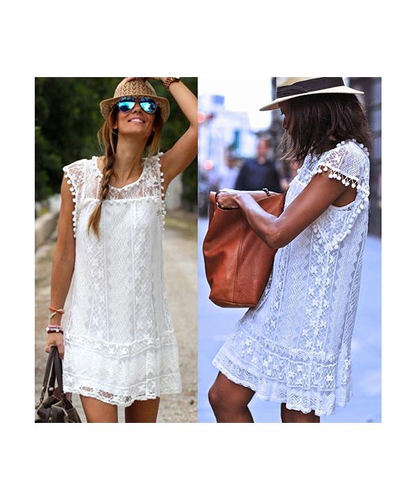 Krátké bílé krajkové šaty c6a0348b921