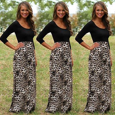 c78ec180ec5 Maxi šaty s dlouhým rukávem a leopardím motivem