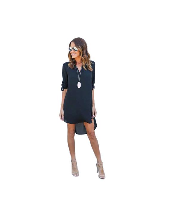 Šifonové krátké volné šaty s dlouhým rukávem 3adaecfdc1