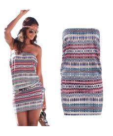 Krátké plážové šaty bez ramínek