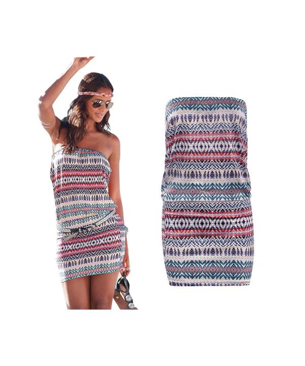 Krátké plážové šaty s orientálním vzorem bez ramínek e7a5467d39