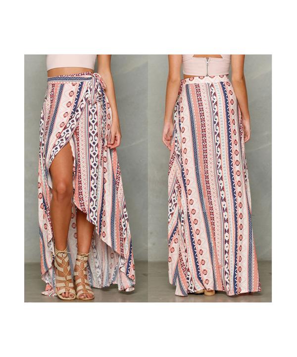 Dámská dlouhá zavinovací sukně s orientálním vzorem 1aea16a93d
