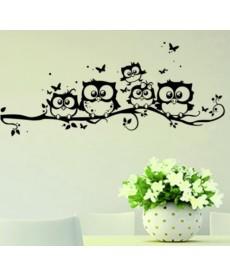 Sovy - nálepka na zeď