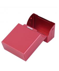 Růžové metalické pouzdro na cigarety
