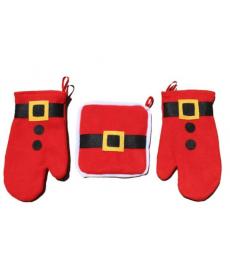 3dílný kuchyňský vánoční set - Santa