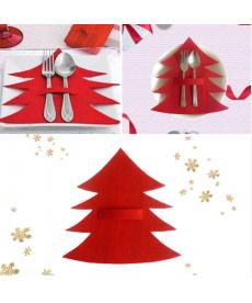 Dekorační kapsa na příbor - vánoční stromeček
